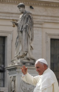 Statue of St. Peter seen as Pope Francis leaves general audience in St. Peter's Square at Vatican