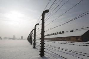 BARBED WIRE FENCES ARE SEEN AT FORMER AUSCHWITZ-BIRKENAU DEATH CAMP