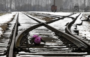 FLOWERS SITS ON RAILWAY TRACKS AT FORMER NAZI DEATH CAMP IN AUSCHWITZ