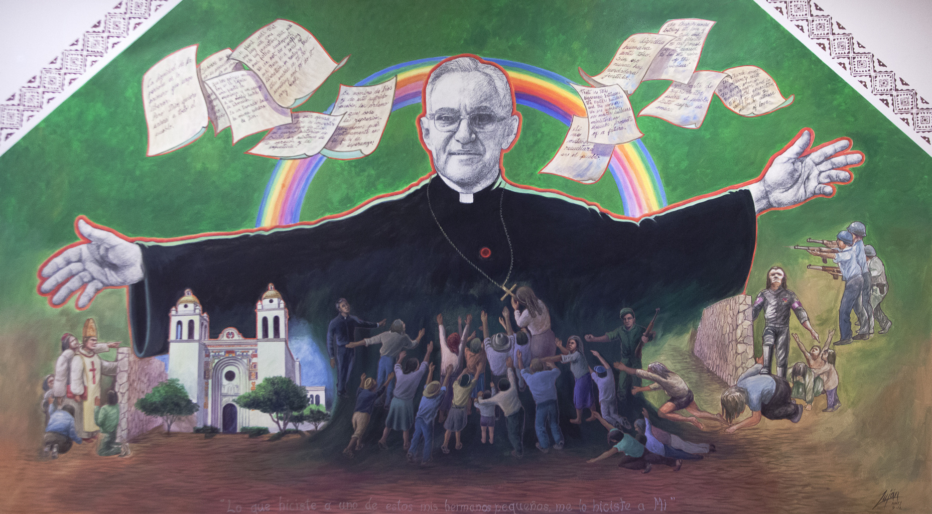 Mural of Salvadoran Archbishop Oscar Romero seen in 2012 at Columban Mission Center in El Paso
