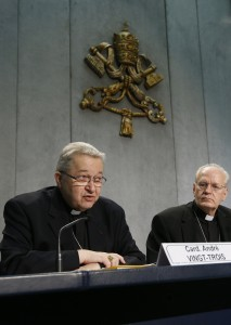 Cardinal speaks during press conference for release of working document for extraordinary Synod of Bishops on family
