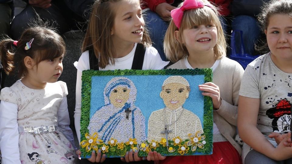 Visite du pape François au Mémorial de Mère Teresa à Skopje