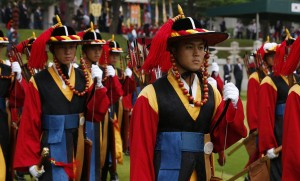 South Korean honor guard welcomes Pope Francis to Seoul