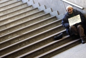 MAN BEGS IN BUDAPEST, HUNGARY