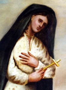 BLESSED KATERI TEKAKWITHA HOLDS CROSS IN EARLIEST KNOWN PORTRAIT PAINTED BY JESUIT WHO  KNEW HER