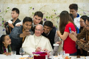 Pope Francis eats lunch with youth at major seminary in South Korea